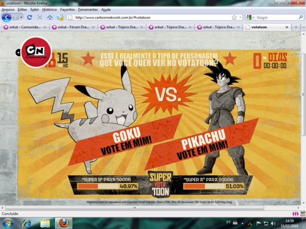 Cartoon Network Roubo descarado Fraude no Votatoon Pokemon Vs. Dragon Ball nos votos
