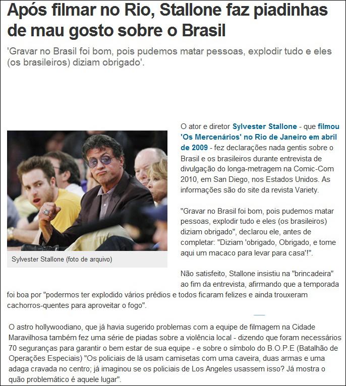 Stallone Vs. Brasil - Stallone faz piadinhas