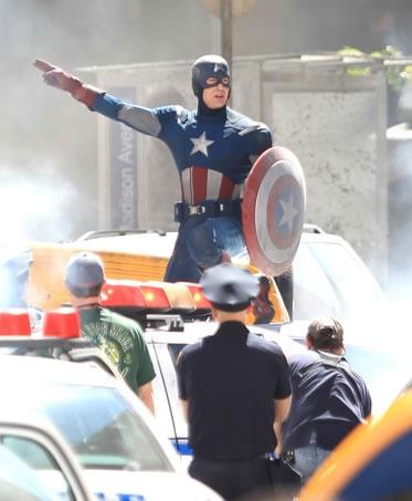 The Avengers - Foto do Set - Capitão America (Captain America)