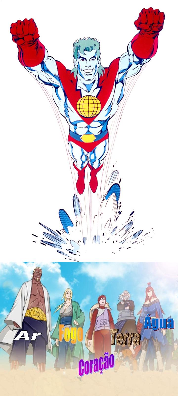 Os Cinco Kages unem seus poderes e invocam o Capitão Planeta