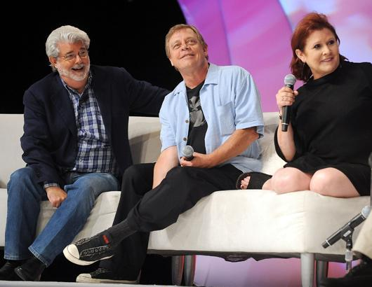George Lucas, Mark Hamill e Carrie Fisher