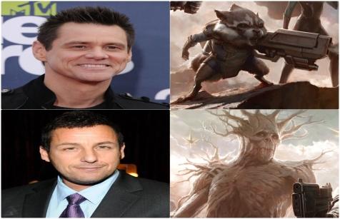 Jim Carrey e Adam Sandler como Rocket Racoon e Groot em Guardiões da Galáxia