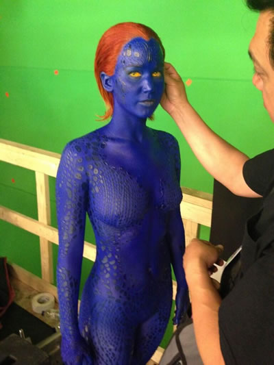X-Men - Days of Future Past - Mistica no set de filmagens