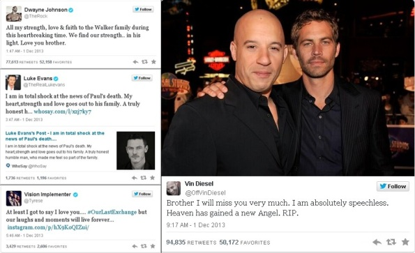 Vin Diesel, The Rock, Luke Evans e cia twitter sobre a morte de Paul Walker