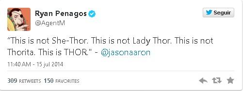Ryan Penagos sobre o Thor mulher no Twitter