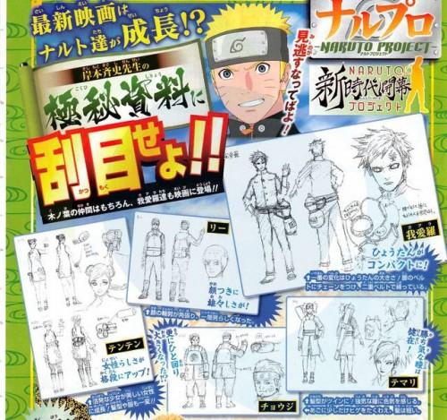 The Last - Naruto The Movie - Rascunhos da Gaara, Temari, Rock Lee, Choji e Tenten