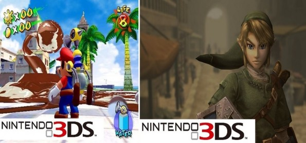 Super Mario Sunshine 3D e The Legend of Zelda - Twilight Princess 3D no New Nintendo 3DS
