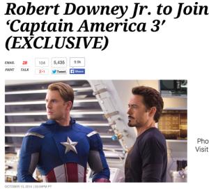 Robert Downey Jr. estará em Capitão América 3