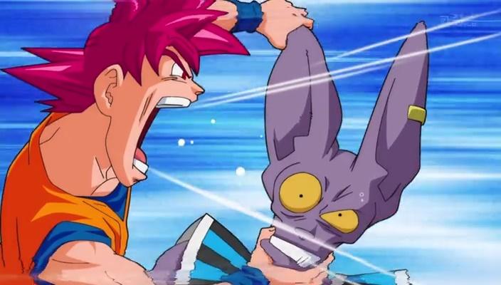 Goku gritando no ouvido de Bills (Dragon Ball Super - Episódio 11)