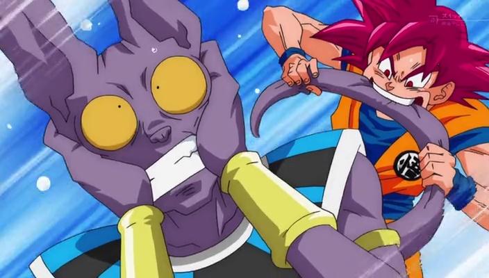 Goku mordendo o rabo de Bills (Dragon Ball Super - Episódio 11)