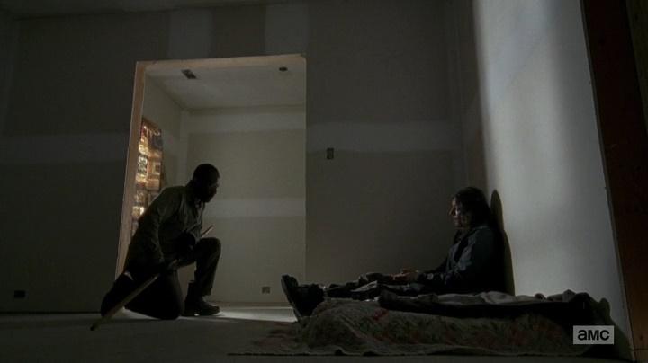 Morgan e cara com W na testa (The Walking Dead - S06E04)