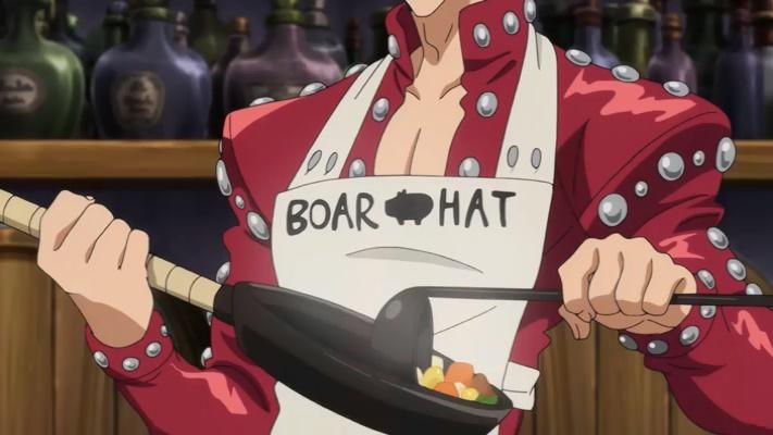 Ban atraiu Hawk usando comida (Nanatsu no Taizai Seisen no Shirushi - Episódio 01)