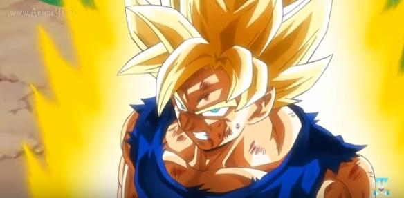Goku se transforma em Super Sayajin (Dragon Ball Z - Ressurection F - Especial do Futuro do Trunks)