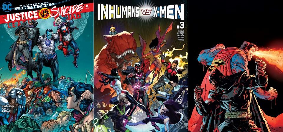 Destaques do Porco-Aranha #2 -  Liga da Justiça Vs. Esquadrão Suicida - Inumanos Vs. X-Men - Batman - O Cavaleiro das Trevas III