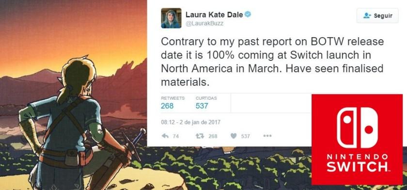 Laura Kate Dale reconfirma The Legend of Zelda - Breath of the Wild para março de 2017