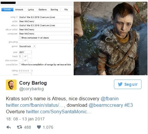 Twitt revela Atreus, nome do filho do Kratos, no novo God of War