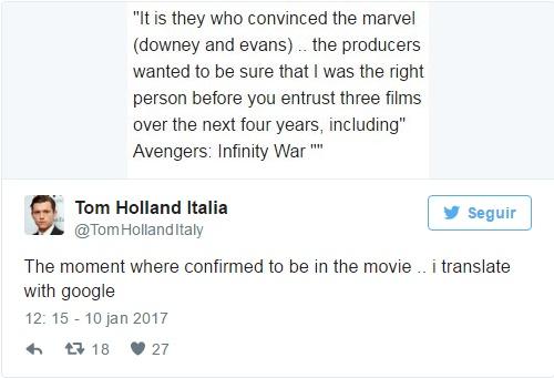 Twitter do Tom Holland - Homem-Aranha em Vingadores - Guerra Infinita