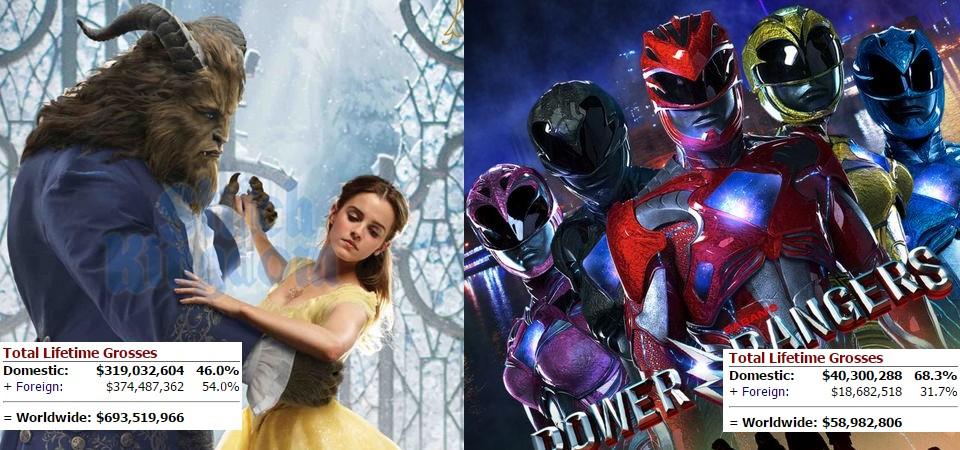 A Bela e a Fera Vs. Power Rangers na bilheteria