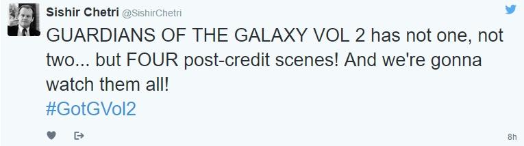 Guardiões da Galáxia Vol 2 com quatro cenas pós créditos