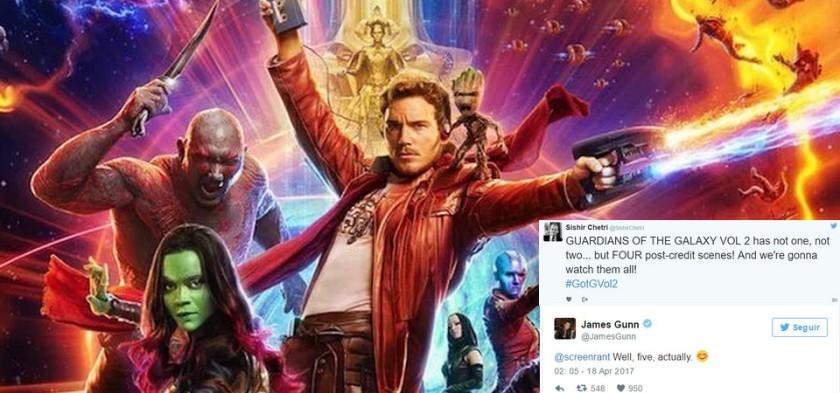 Guardiões da Galáxia Vol 2 terá cinco cenas pós créditos