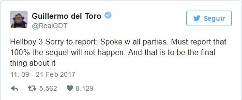 Guilhermo Del Toro anuncia que Hellboy 3 não vai acontecer