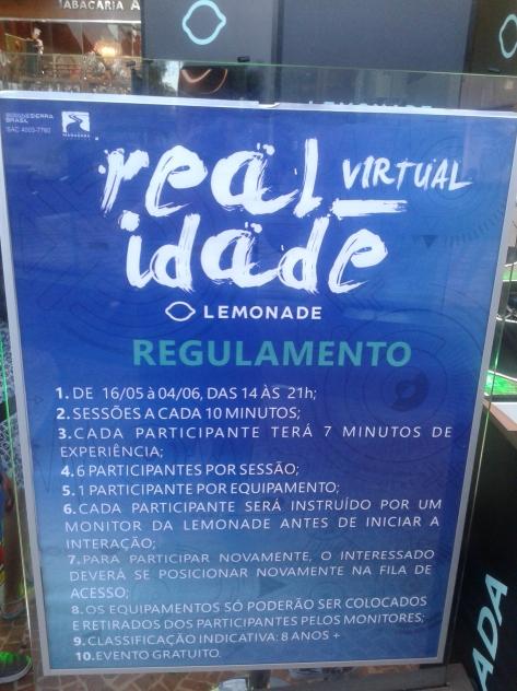 Realidade Virtual - Lemonade - Regras do Evento