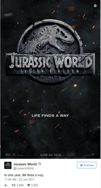 Anúncio de Jurassic World - Fallen Kingdom no Twitter