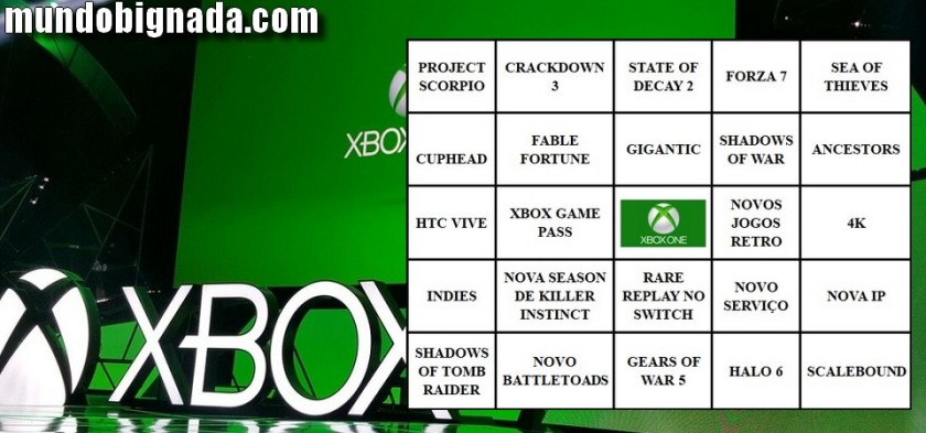 BingoNada da E3 2017 - Cartela da Microsoft e Expectativas da Conferência