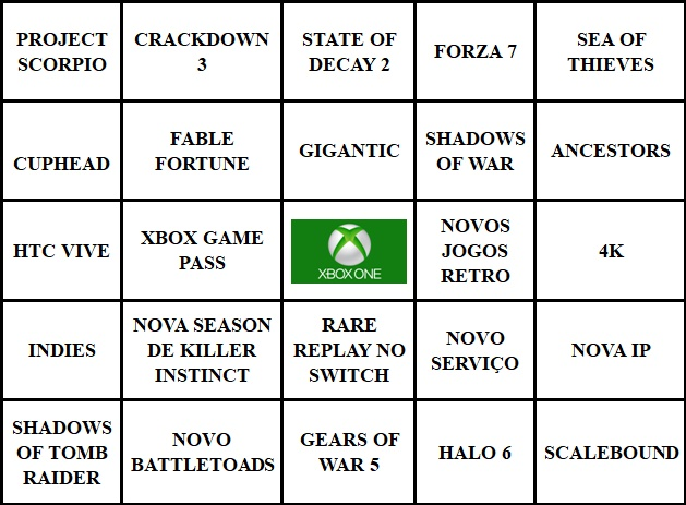 BingoNada da E3 2017 - Cartela da Microsoft