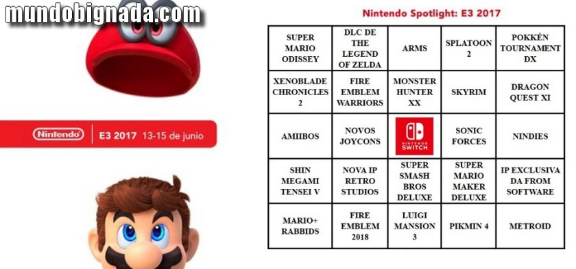 BingoNada da E3 2017 - Cartela da Nintendo e Expectativas do Evento Digital