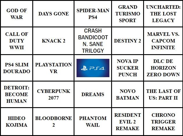BingoNada da E3 2017 - Cartela da Sony