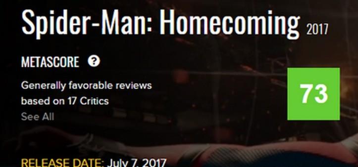 Metascore 73 de Spider-Man Homecoming