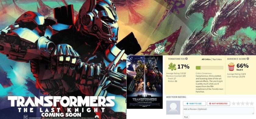 Transformers - The Last Knight com porcentagem baixíssima no Rotten Tomatoes