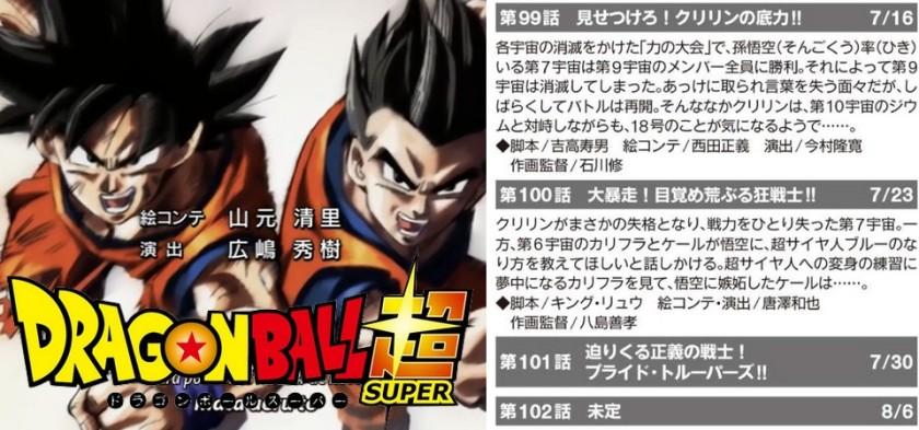 Dragon Ball Super - Títulos e Resumos dos Episódios 99, 100 e 101