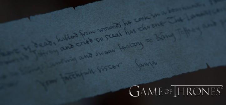 Revelado texto da carta do Mindinho (Game of Thrones - S07E05)