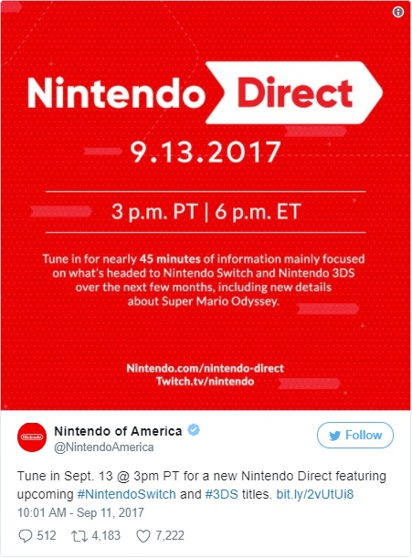 Nintendo Direct 13 09 2017 Twitter