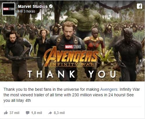 Marvel Studios twitta sobre Vingadores - Guerra Infinita ser o trailer mais assistido de todos os tempos