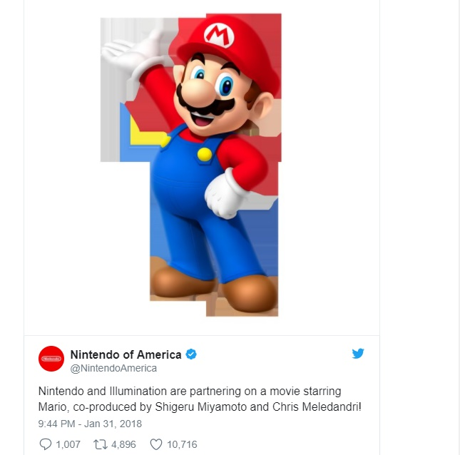 Mario Movie pela Illumination Enterteinment é confirmado no twitter da Nintendo of America