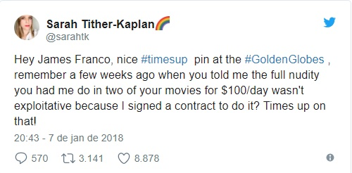 Sarah Tither-Kaplan twitta sobre assédio sexual de James Franco