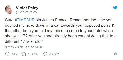 Violet Paley twitta sobre assédio sexual de James Franco