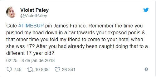 Violet Paley twitta sobre assédio sexual de James Franco
