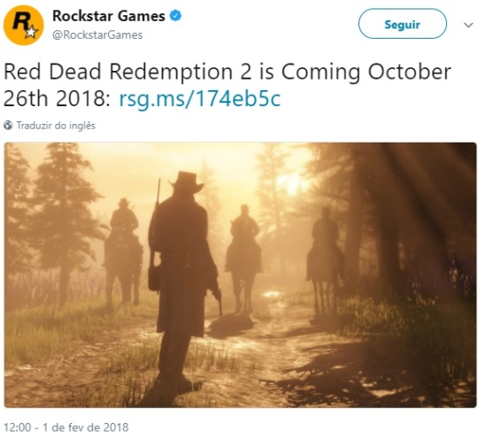 Rockstar Games anuncia data de lançamento de Red Dead Redemption 2 no twitter