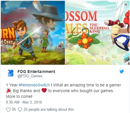 FDG Entertainment twitta sobre aniversário do Nintendo Switch