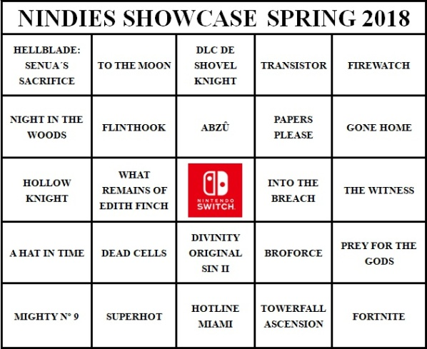 Nindies Showcase Springo 2018 - Bingo