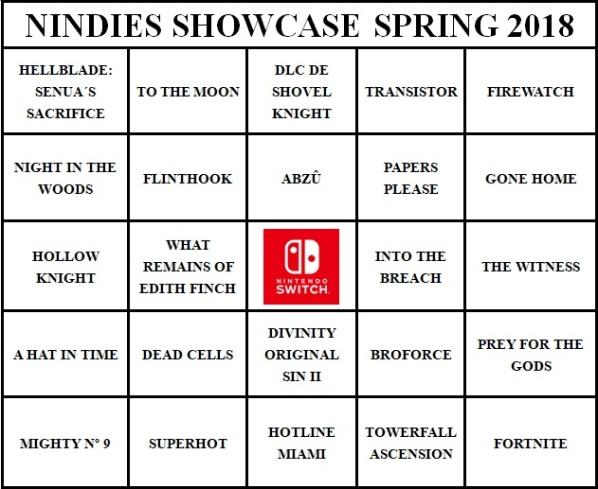 Nindies Showcase Springo 2018 - Bingo