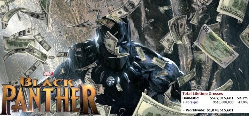 Pantera Negra ultrapassa 1 milhão de dólares de bilheteria