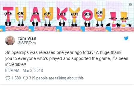 Tom Vian de Snipperclips twitta sobre aniversário do Nintendo Switch