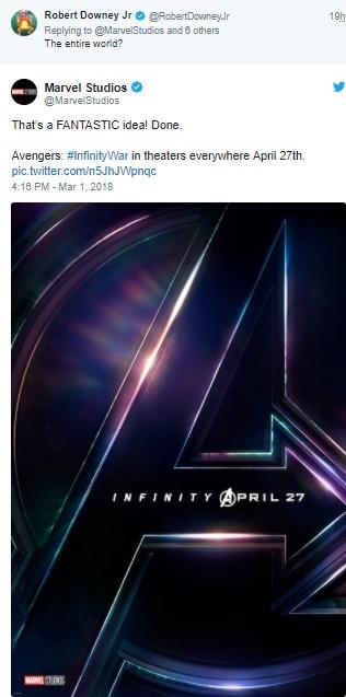 Twitt da Marvel Studios anuncia adiantamento de Vingadores - Guerra Infinita e easter egg do Quarteto Fantástico