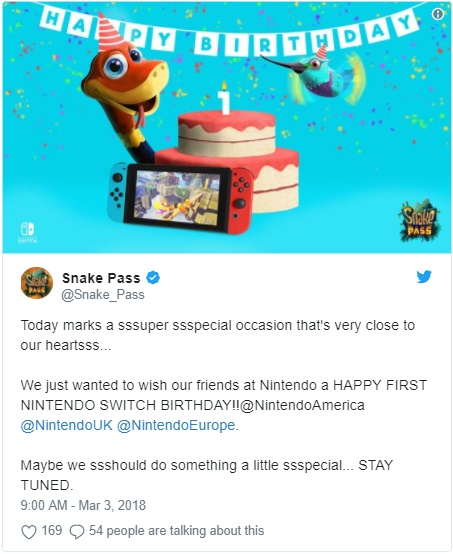 Twitter de Snake Pass da Sumo Digital twitta sobre aniversário do Nintendo Switch