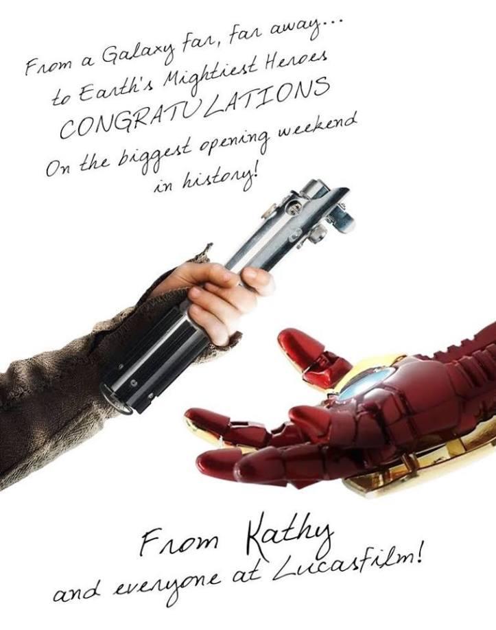 Lucasfilm parabeniza sucesso da Marvel